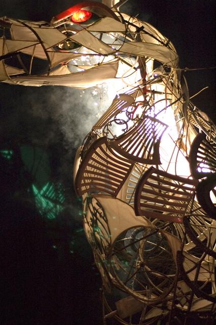 The Beast of Bracknell, made from detritus from Bracknell civic waste centre and summoned in a communal ceremony at the finale of the Big Day Out Festival 2008.