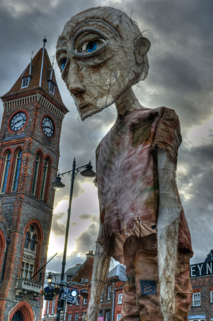 John Everafraid - 6 metre high puppet made for the Berkshire Giant project with Macnas and Newbury Corn Exchange