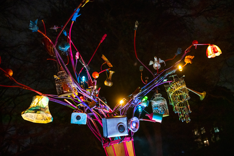 Close up of Lost & Found Tree audio, visual and kinetic sculpture for Enchanted Parks, Gateshead 2018