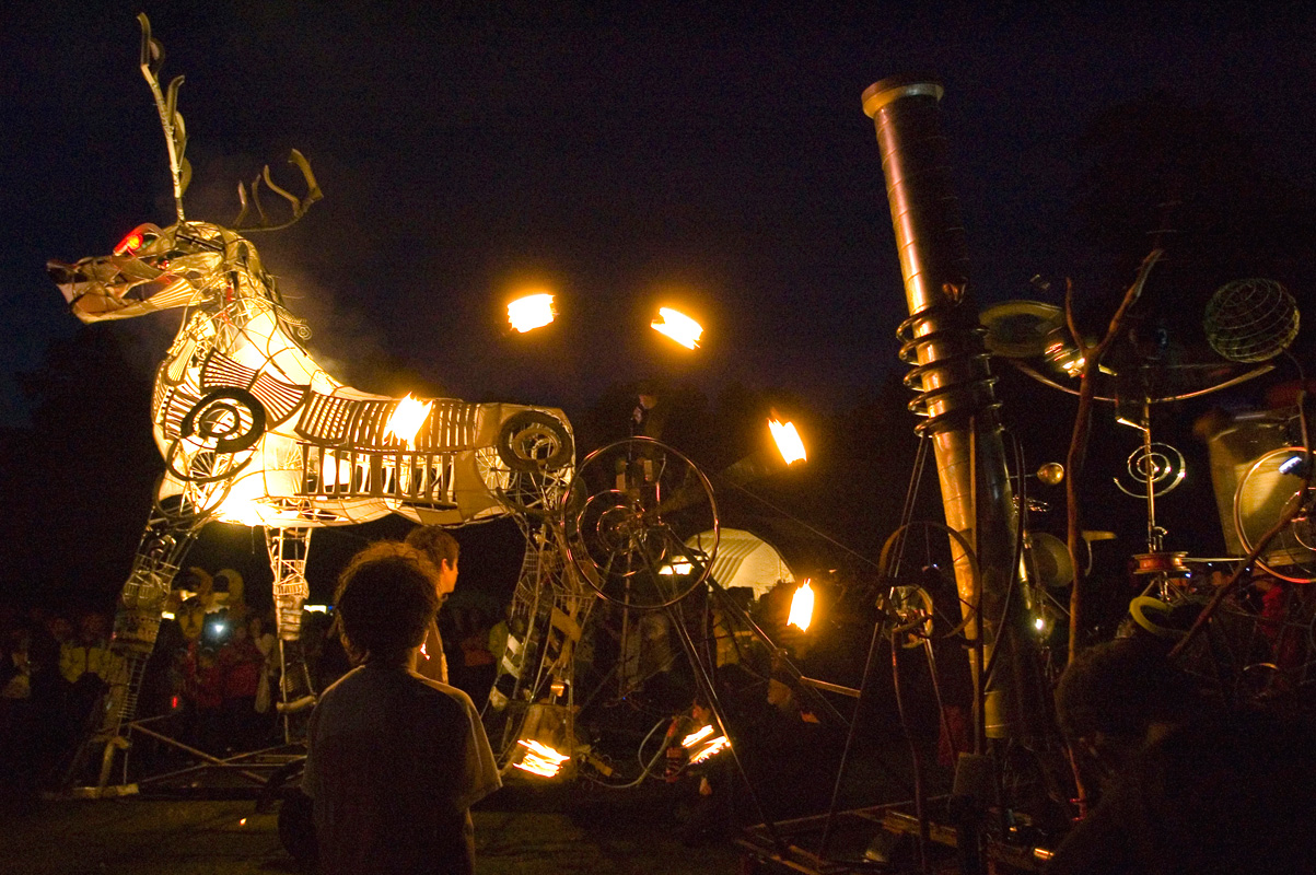 The original Pandaemonium - an event to summon The Beast of Bracknell, a 6m high smoke snorting illuminated totemic stag at Big Day Out festival 2008