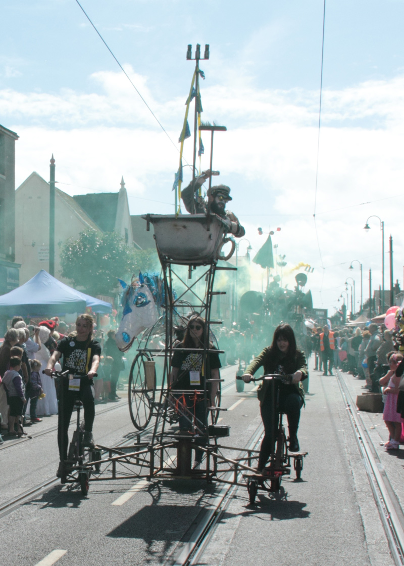 Cycle powered bath boat in the Pandamonium Parade, Spare Parts Festival, Fleetwood, 2015