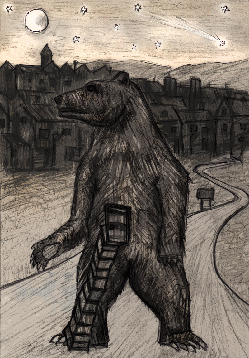 ...and the inhabitants shut  themselves in the giant wooden bear for 28 days...Winter tales: a series of imaginary folk rituals.