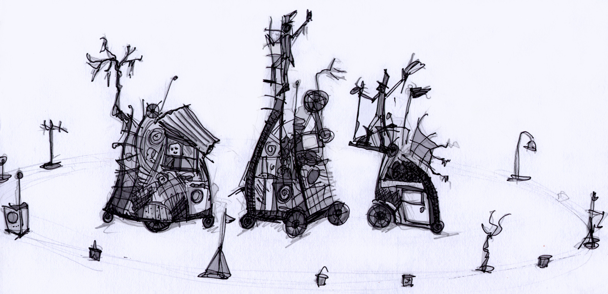 Early concept sketch for Boneyard Tales, showing 3  junk sculpture towers/mobile sets