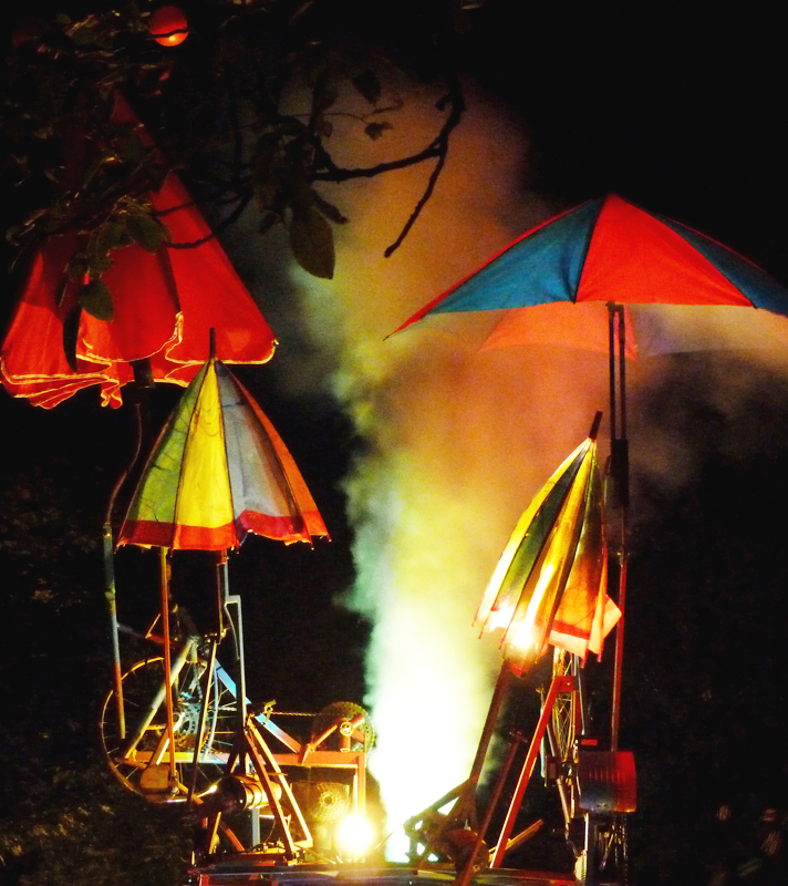 The Umbrella Tree sculpture with mechanically operated brollies, lights and smoke.