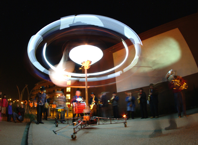 Illuminated Carousel spins as part of Ghost Horn performance, Taunton 2012
