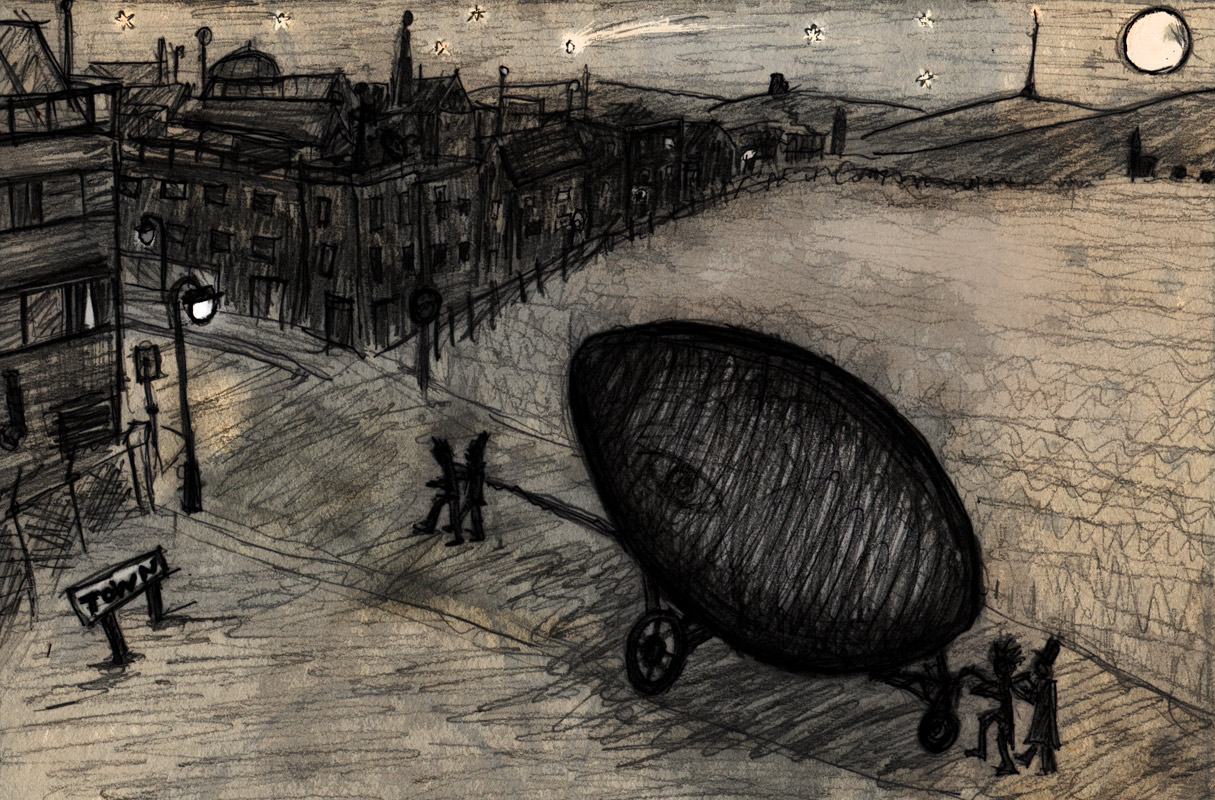 Under cover of darkness, the Midwinter Cocoon is wheeled into Town. Winter tales: a series of imaginary folk rituals.