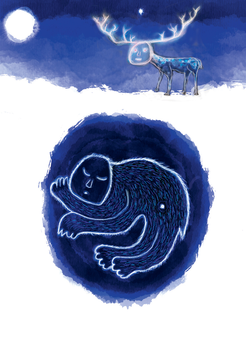 The Dreamer in Winter - digital sketch of a hibernating mutant