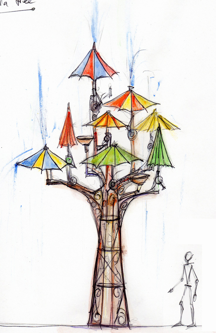 Early concept design for the Umbrella Tree, originally conceived as a fountain.