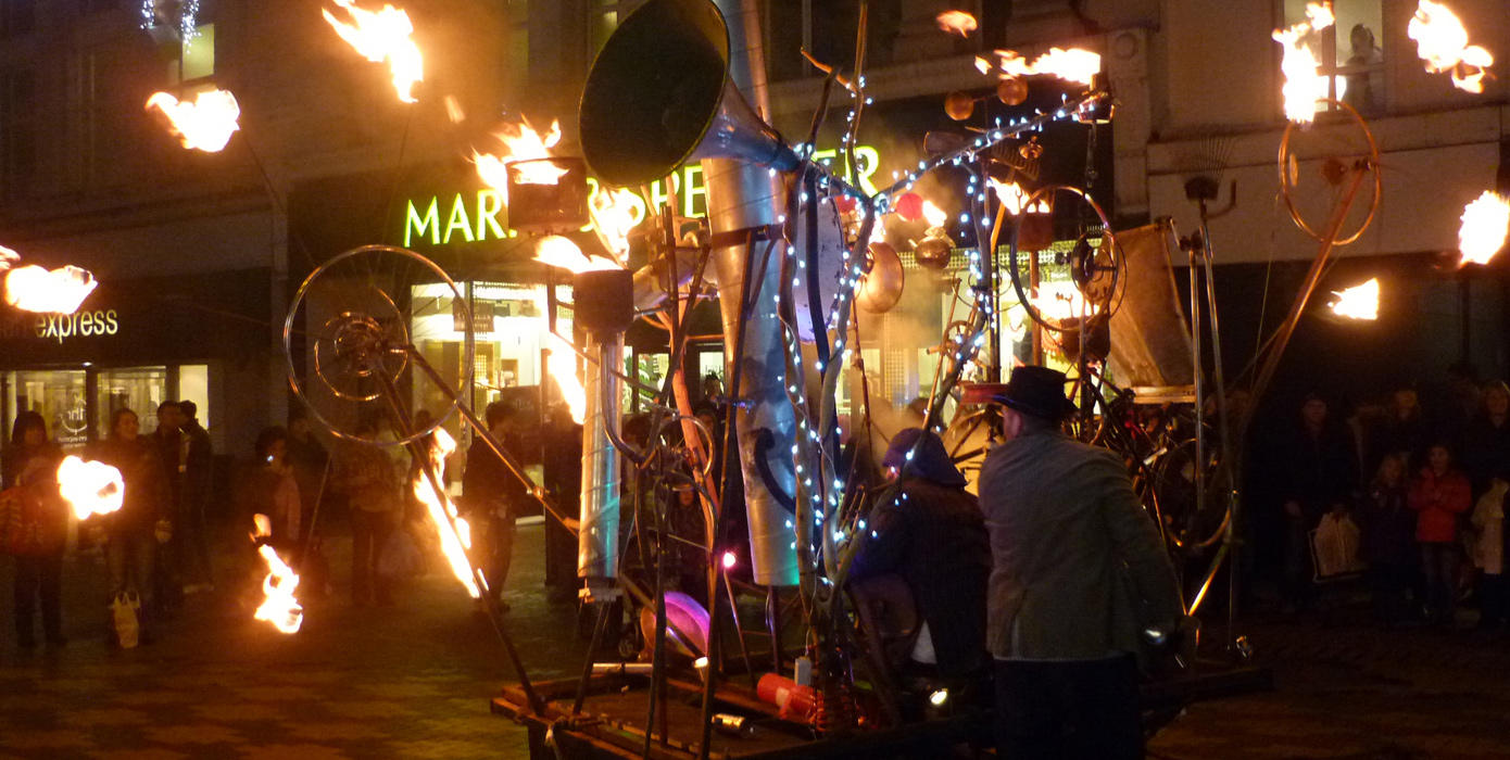 Pandamonium Engine, a mobile kinetic contraption animated by fire, movement and pyrotechnics, in action at Huddersfield Festival of Light