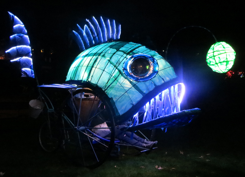 Fish Trike - illuminated angler fish on tricycle chassis, with snapping mouth, flapping fins, bubbles, water spray, sound system and LED lighting.