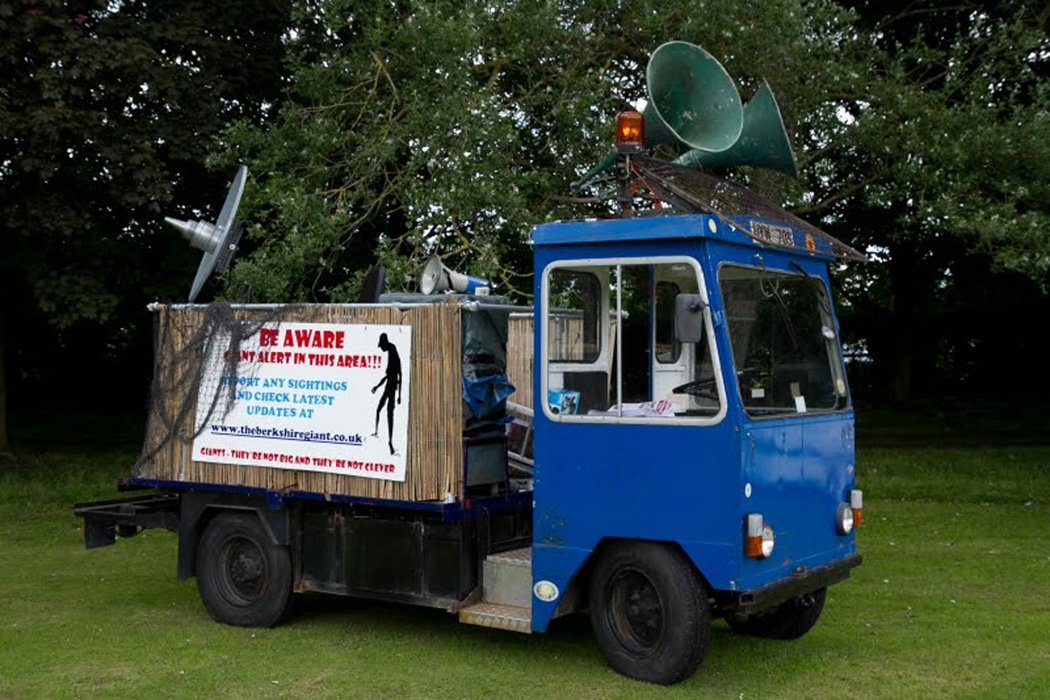 Giant Hunters vehicle: converted milk float made for giant tracking and hunting.