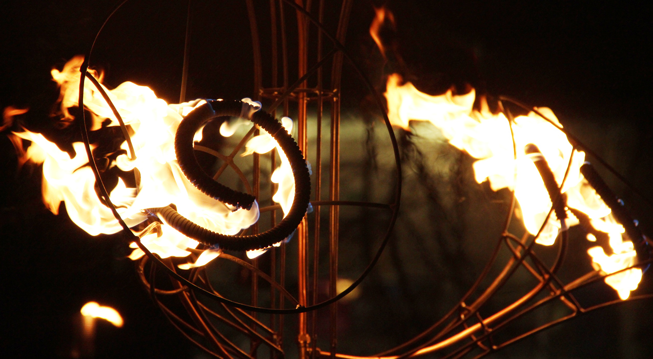 Close up of propane fire sculpture for Fire Garden installation at Huddersfield Festival of Light 2012, collaboration with pa-Boom