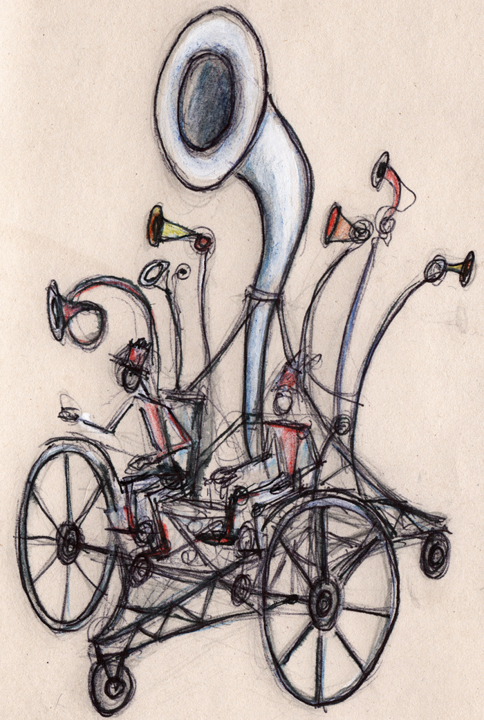 A design for a giant processional Horn on a cycle powered steampunk style chassis