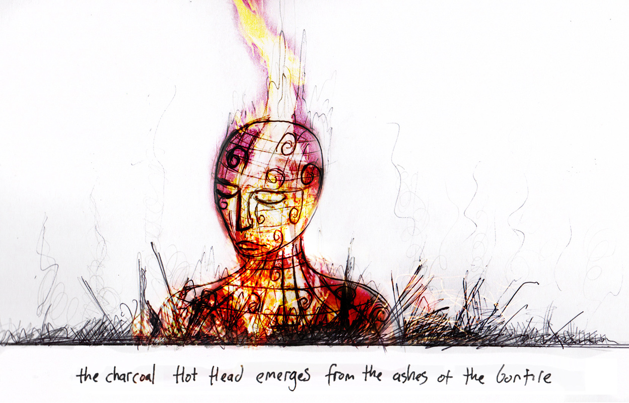 Concept sketch for a fiery, pyrotechnic bonfire event