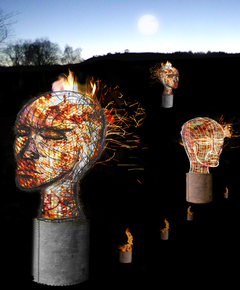 Design concept for Hot Heads- an installation of three sculptural charcoal braziers designed and made in collaboration with pa-Boom.