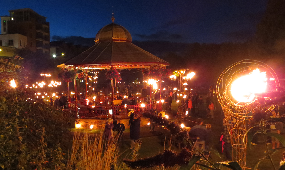 View of Fire Garden installation and bandstand at Newbury 2013, a collaboration with pa-Boom