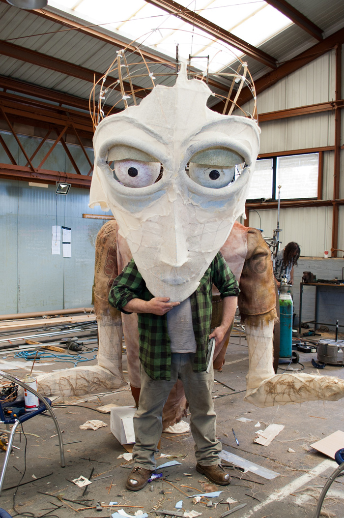 Making John Everafraid - 6 metre high puppet  for the Berkshire Giant project with Macnas and Newbury Corn Exchange