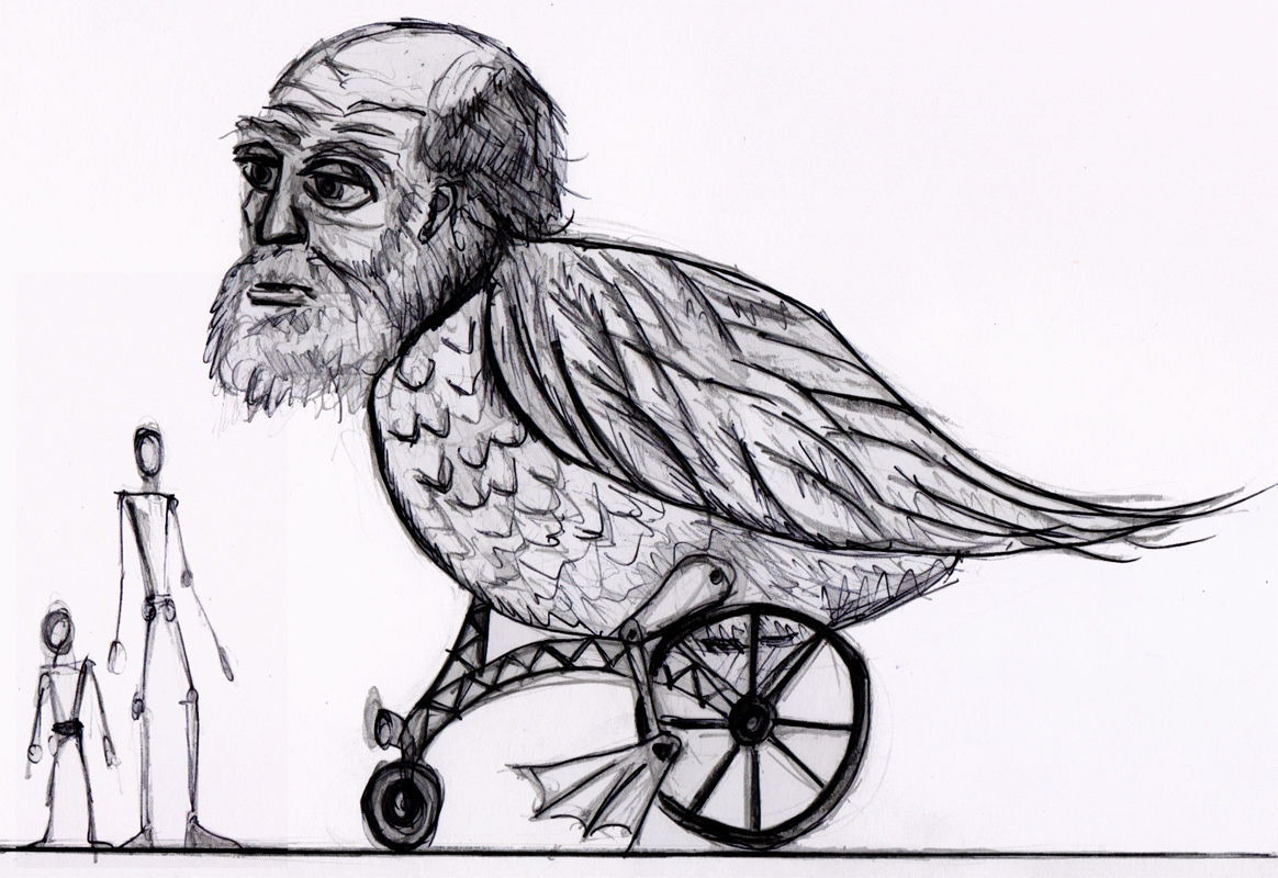 Design for a wheeled puppet of a giant duck with the head of Charles Darwin