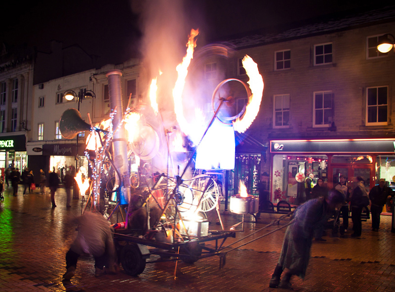 The Pandamonium Engine: mobile madcap kinetic sculpture animated with pyrotechnics and fire, Huddersfield Festival of Light 2010