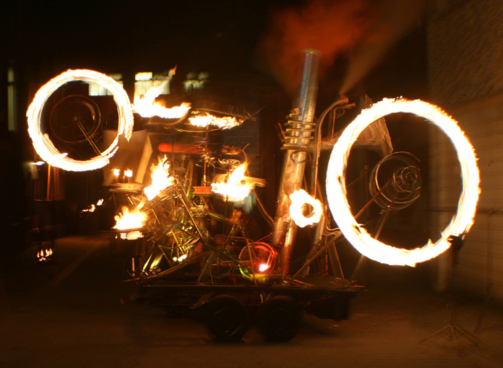 Pandamonium Engine, a mobile kinetic contraption animated by fire, movement and pyrotechnics, in action at Heat the Streets, Blackpool 2009