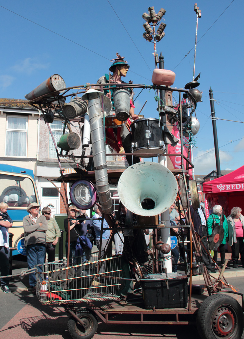 Mobile percussion tower at the Spare Parts Festival, Fleetwood, 2015