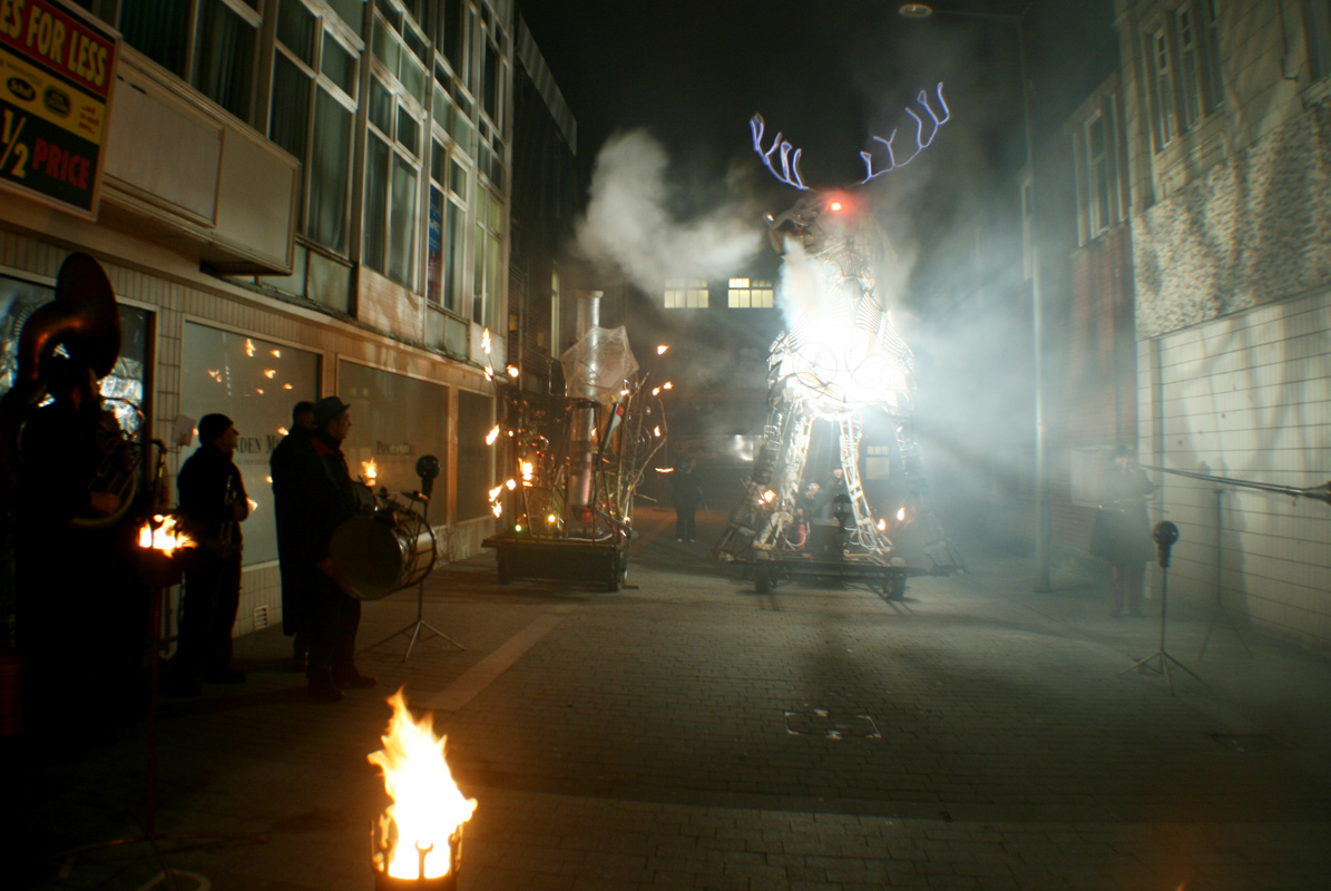 The Beast of Blackpool, a 6m high smoke snorting illuminated totemic stag at Heat the Streets, Blackpool 2009