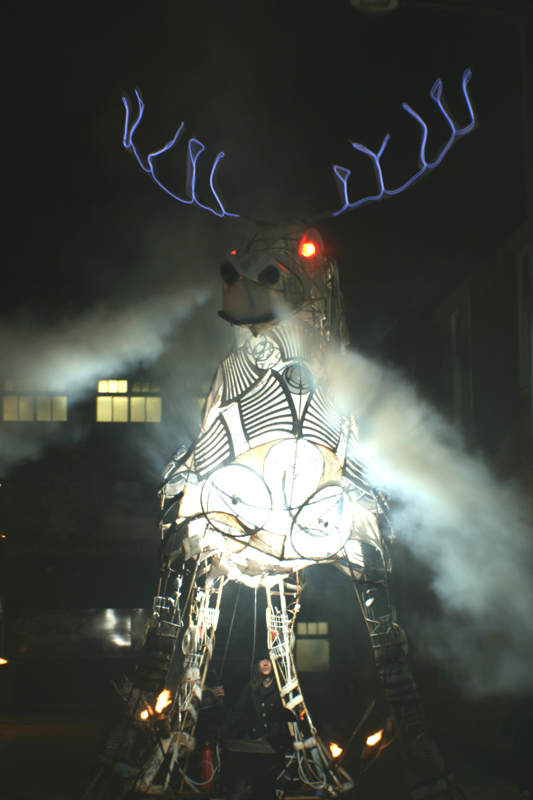 6m high smoke snorting, illuminated totemic stag at Heat the Streets, Blackpool 2009
