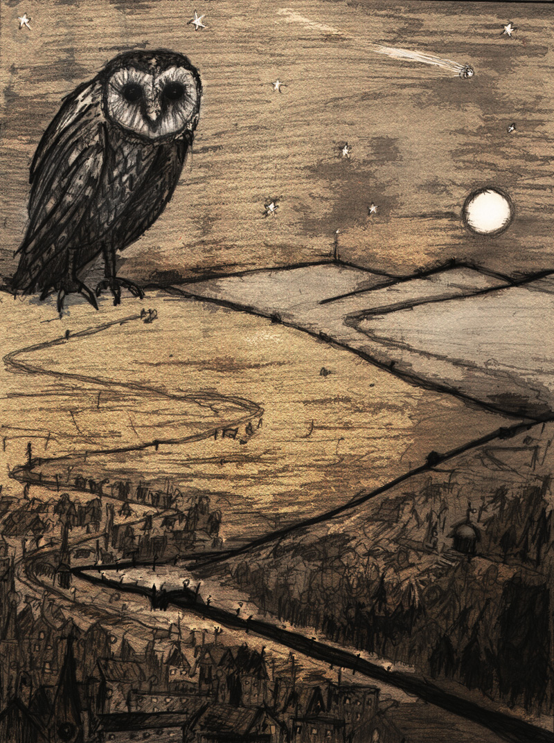 The Solstice Owl keeps watch over the Little Town of Avalon - Winter tales: a series of imaginary folk rituals.