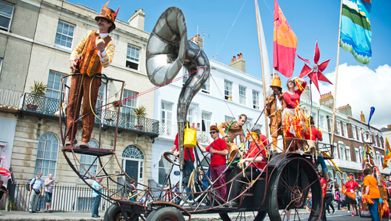 Human powered processional vehicle built for sailing olympics in Weymouth 2012