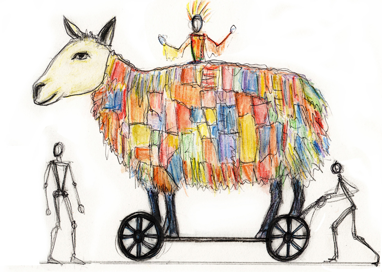 The Spirit of Shoddy - unrealised design for a giant sheep on wheels, a mobile stage covered in recycled knitwear
