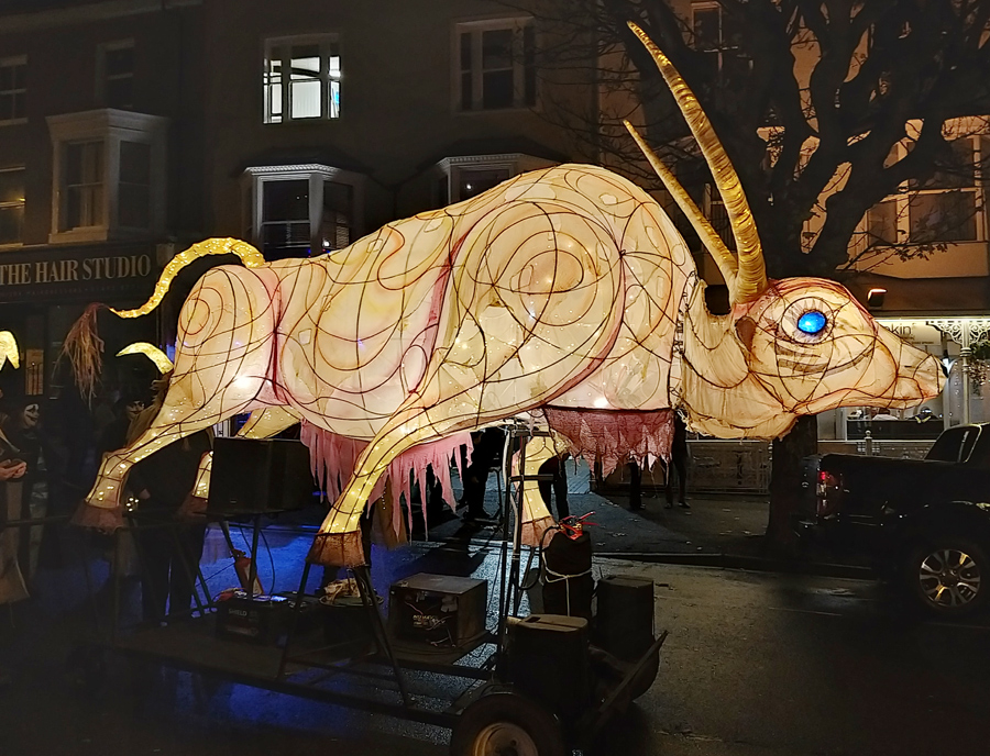 Ychen Bannog: A large illuminated puppet of an Ox from Welsh Mythology, made for Winter Rising in Llandudno by Walk the Plank